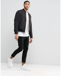 ASOS - Bomber Jacket In Black With Zip for Men - Lyst
