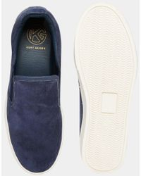 KG by Kurt Geiger - Blue Kg By Kurt Geiger Slip On Plimsolls In Navy Suede for Men - Lyst