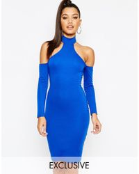 Naanaa | Blue Midi Dress With Cut In Shoulder And Lace Up Back | Lyst
