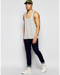 ASOS - Gray Vest With Extreme Racer Back In Grey for Men - Lyst