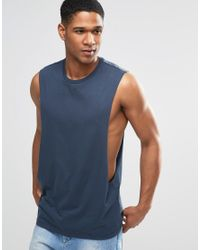 ASOS | Sleeveless T-shirt With Extreme Dropped Armhole In Blue for Men | Lyst