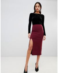 ASOS - Red Midi Skirt With Front Split - Lyst