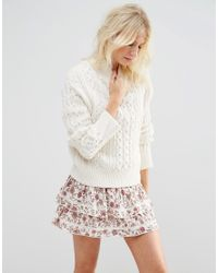 ASOS | Natural Jumper With Cable Stitch And High Neck | Lyst