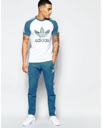 Adidas Originals - Blue Shattered Stripe Logo T-shirt In White Az3263 - White for Men - Lyst