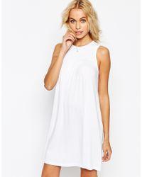 ASOS - Metallic Sleeveless Swing Dress With Ruching Detail - Lyst