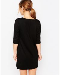 ASOS - Black Petite Shift Dress With V Neck - Lyst