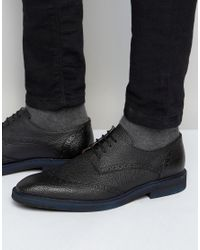 SELECTED | Black Dwight Leather Brogue Shoes for Men | Lyst