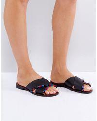 ASOS | Black Fresh Start Leather Pom Pom Flat Sliders | Lyst