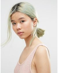 ASOS - Metallic Gold Plated Sterling Silver Stone Shape Earring - Lyst