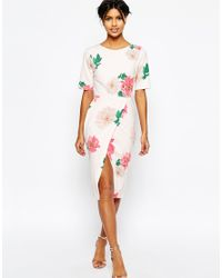 ASOS | White Occasion Wiggle Dress In Floral Print With Wrap Front | Lyst