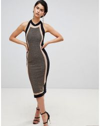 Forever Unique - Multicolor Panelled Midi Dress - Lyst