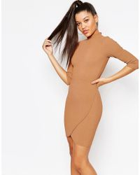 Missguided - Brown High Neck Textured Wrap Dress - Lyst