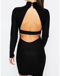 Missguided - Black Cut Out Back Bodycon Dress - Lyst