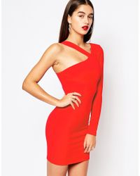Missguided - Red One Shoulder Strappy Mini Dress - Lyst