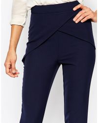 Missguided - Black Wrap Front Highwaisted Cigarette Trouser - Navy - Lyst