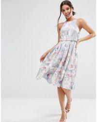 ASOS - Multicolor Crop Top Floral Midi Dress - Lyst