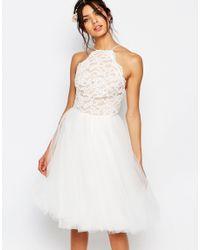 Jarlo - White Edie Tulle Lace Halter Dress - Lyst