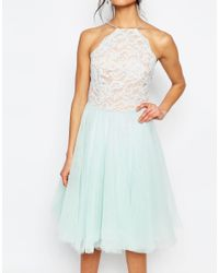 Jarlo - White Edie Tulle Lace Halter Dress - Lyst