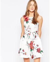 Closet - White Closet Foral Bow Skater Dress - Lyst
