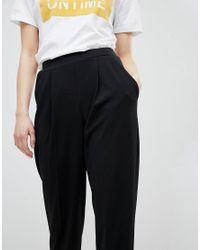 Miss Selfridge - Black Turn Up Tapered Pants - Lyst