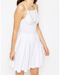 ASOS - White Mini Full Skater Dress - Lyst