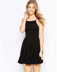 ASOS - Black Mini Full Skater Dress - Lyst