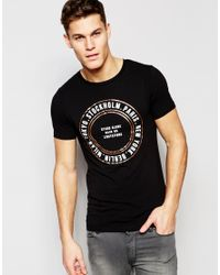 ASOS - Black Muscle T-shirt With Rose Foil City Circle Print for Men - Lyst
