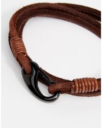 Seven London - Even London Leather Wrap Bracelet In Brown for Men - Lyst