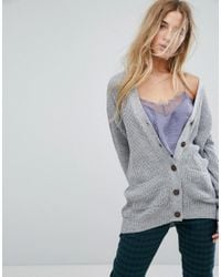 Daisy Street | Gray Boyfriend Cardigan In Cable Knit | Lyst