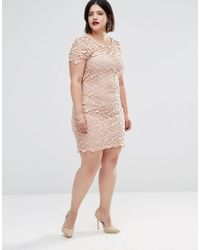 Club L - Natural Plus Midi Dress In Floral Crochet - Lyst