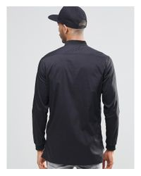 Pull&Bear - Longline Bomber Shirt In Black In Regular Fit for Men - Lyst