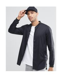 Pull&Bear - Longline Bomber Shirt In Black In Regular Fit for Men - Lyst