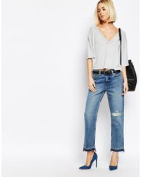 Weekday | Gray Deep V -neck Top | Lyst