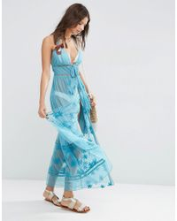 ASOS - Blue Mesh Floral Embroidered Lattice Maxi Beach Dress - Lyst