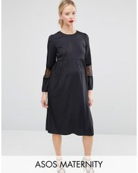 ASOS | Blue Long Sleeve Midi Dress With Lace Insert | Lyst