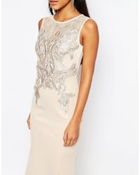 Lipsy - Pink Michelle Keegan Loves Foil Lace Applique Maxi Dress - Lyst