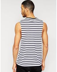 ASOS - Blue Stripe Sleeveless T-shirt With Dropped Armhole for Men - Lyst