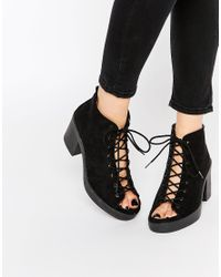 ASOS - Black Tiger Lace Up Heeled Sandals - Lyst