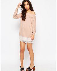 ASOS - Multicolor Off Shoulder Dress In Crepe With Eyelash Lace Hem - Lyst
