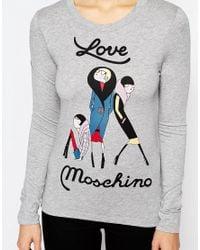 Love Moschino - Gray Poses T-shirt - Grey - Lyst