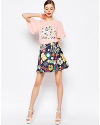 Love Moschino | Pink Floral Love Woven Sleeve T-shirt | Lyst