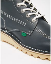 Kickers - Gray Kick Hi Leather Boots for Men - Lyst