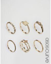 ASOS | Metallic Pack Of 6 Treasure Ring Stack Pack | Lyst