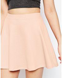 ASOS - Natural Petite Skater Skirt In Texture - Lyst