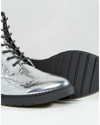 London Rebel | Metallic Brogue Lace Up Ankle Boots | Lyst