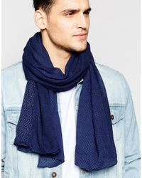 Esprit - Blue Scarf Lightweight Minimal for Men - Lyst