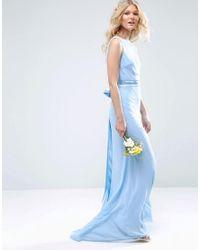 TFNC London - Wedding Sateen Bow Back Maxi Dress - Blue - Lyst