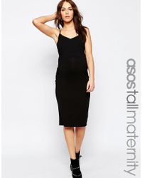 ASOS | Black Tall Cami Midi Dress | Lyst