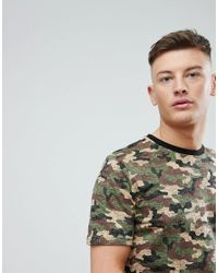 Pull&Bear - Green Map Print Crew Neck T-shirt In Camo for Men - Lyst