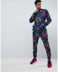 b3a99ee54b2 Men s Blue Tracksuit Track Jacket skinny Sweatpants With Koi Fish Print